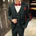 2016 Personalizado Slim Fit Side Slit verde Escuro Um Botões Notch Lapela Do Noivo Smoking Dos Homens Ternos Terno Homem de Negócios (casacos + Calça + colete)