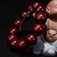 Coate Natural Lobular Sándalo Rojo Pulseras 20mm Perlas de Marfil Fino Tallado Budista Buda De Madera Pulsera Brazalete Pulseras de La Joyería