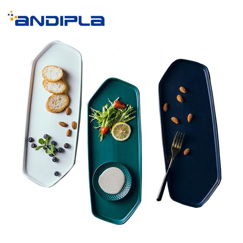 Plateau plat en céramique de plat de dîner de couleur solide de Style nordique/plat plat de pâtisserie de Sushi à la maison de plat de nourriture occidentale de plat