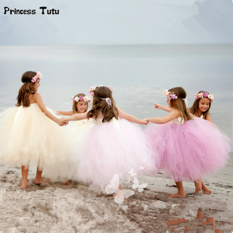Gorgeous Girl Princess Tutu Dress Children Pageant Party Gowns for Kids Girls Tulle Wedding Flower Girl Dresses Robe Fille 1-14Y