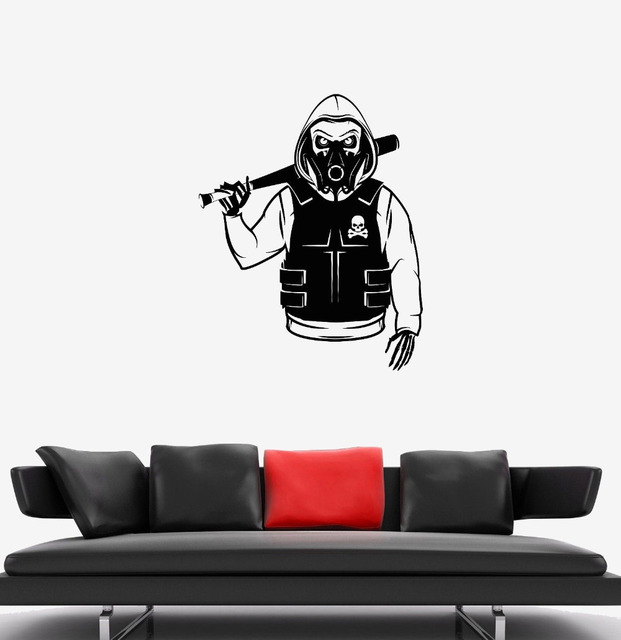 Teens Room Cool Wall Decal Skull Skeleton Rebel Marauder Bandit Camouflage  Vinyl Removable Sticker Art Interior