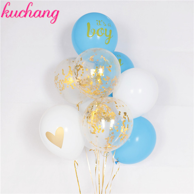 10pcs/lot baby shower children birthday balloons its a boy it's a girl oh baby printed babyshower decorations party supply