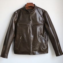 VANLED shipping.super horse hide jacket.japan style.genuine leather slim