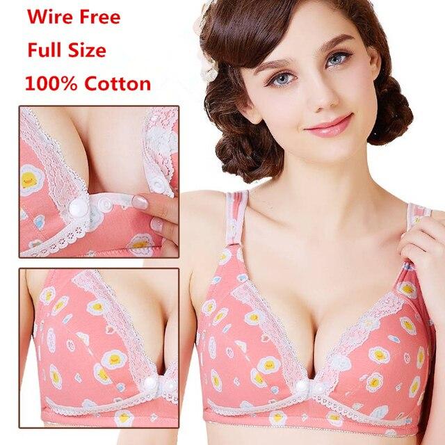 41be75cd657 Cotton Breast Feeding Maternity Bra Nursing Bra Padded Push Up Pregnant  Women Underwear Wire Free Big Cup Anti Sagging Gravidas