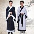 Chino hanfu nacional volver blanco etapa traje de la danza para los hombres r largo satén robe dress ropa dinastía tang chino tradicional