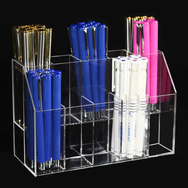 New Clear Acrylic Makeup Organizer Lipstick Holder Case Eyebrow Pencil Rack Makeup Brushes Insert Box Desktop Storage Box