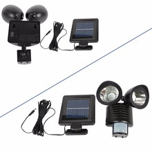 Waterproof Black/White Dual Head 22 LEDs Solar Lamp