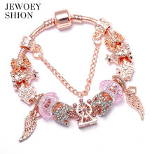 JEWOEY SHION Elegant Jewelry Gift Popular charm bracelet Fashion Glamour Hot Rose Gold Flower Pendant Bracelet for women(China)