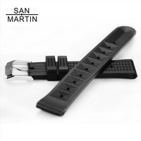 San Martin Watchband Silicone Rubber Band Men Sports Diving Black Strap For 62MAS Wristwatch Belt Watch Accessories Sport Watch