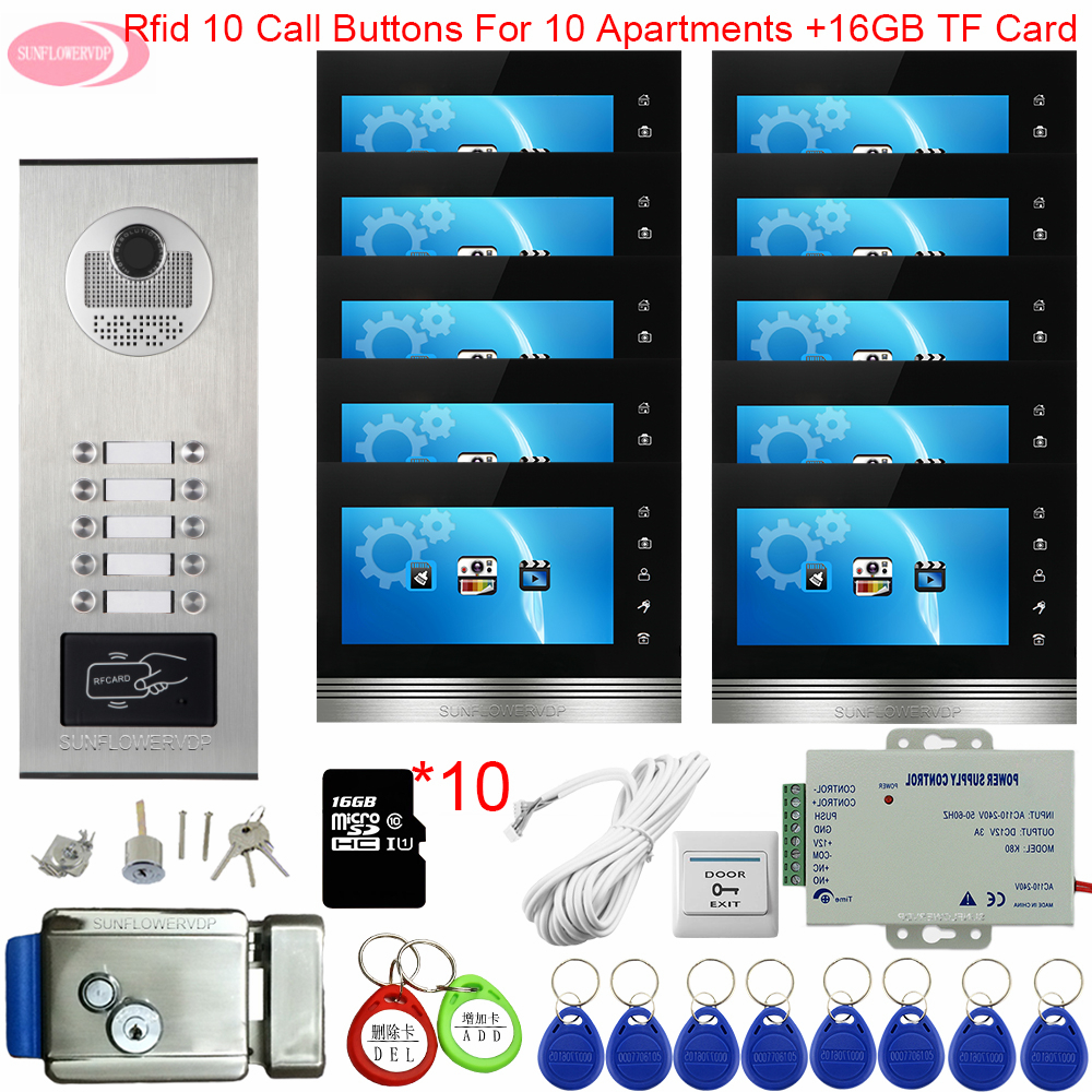 7inch Color Video Intercom With Recording +16GB TF Card Doorphone Buttons Intercom Home Access Control With Electronic Door Lock