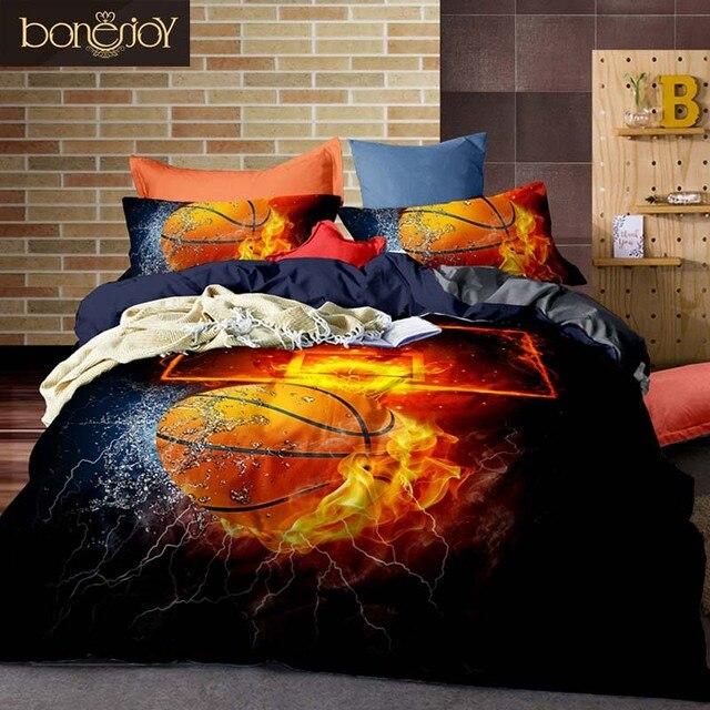 Bonenjoy 3D Letto Set di Basket e del Fuoco Duvet Set di Copertura Calcio Singolo Size Bed Cover Size Biancheria Completa Da Letto Cina kit biancheria da letto