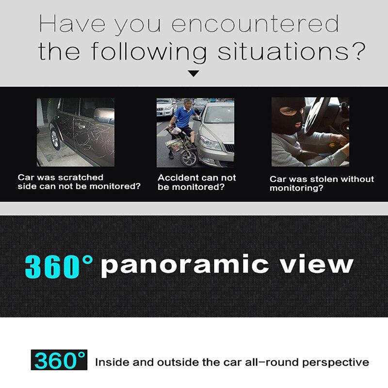 Caméra AZGIANT DVR 360 degrés Rotation Panorama techygraphe Wifi voiture DVR oeil de poisson lentille boucle enregistrement HD Vision nocturne caméscope - 5