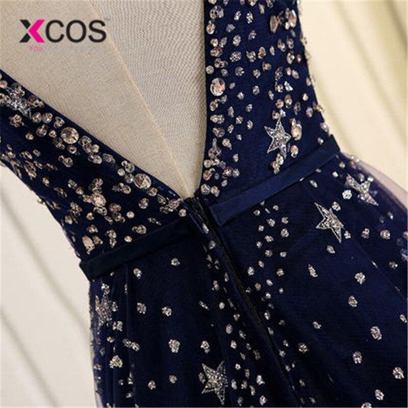 XCOS élégant Bling Bling argent perles prêt à expédier Stock robe longue bleu marine robe de bal longues robes de soirée 2018 nouveauté - 3