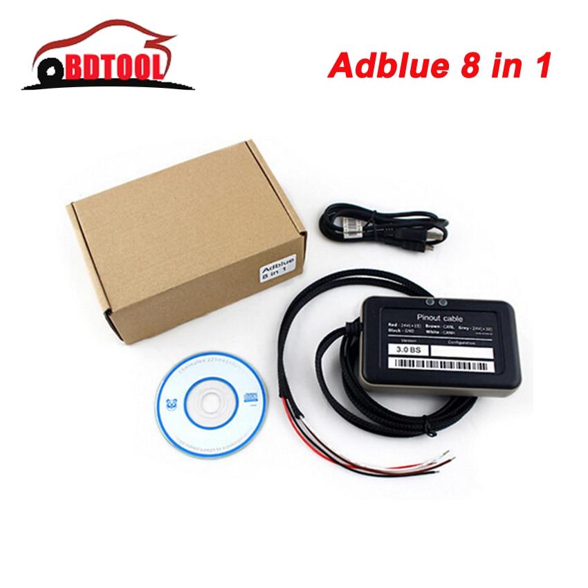 2019 Chip Full 8in1 V3.0 com Sensor De NOx Adblue Emulator Adblue Emulação Scanner Adblue Emulator OBD2 8 em 1 supprot euro 6
