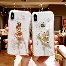 ROHDEA iphoneXS MAX Luxury Brilliant Crystal with a Built-in Drill Case for iphoneXR 6 7 8plus with Finger Ring Soft Edge Cover(China)