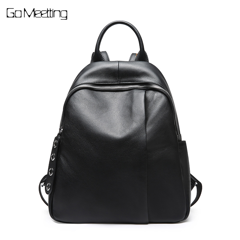 High quality Women Backpack Genuine Leather backpacks with zipper school bag for teenage girls travel backpack shoulder bag briggs famous brand women backpack soft genuine leather backpacks school bag high quality leather travel bag for teenage girl