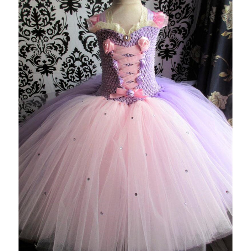 Vintage Fairytale Princess Rapunzel Dress Girl Birthday Party Tutu Dress Kids Tulle Lace Palace Flower Girl Ball Gown Dresses