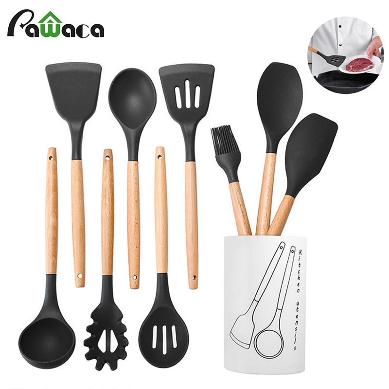 US $22.64 30% OFF|9/10pcs Kitchen Utensil Set Stainless Steel Wood Silicone  Cooking Utensils Non Stick Spatula Spoon Soup Cookware Set with Holder-in  ...