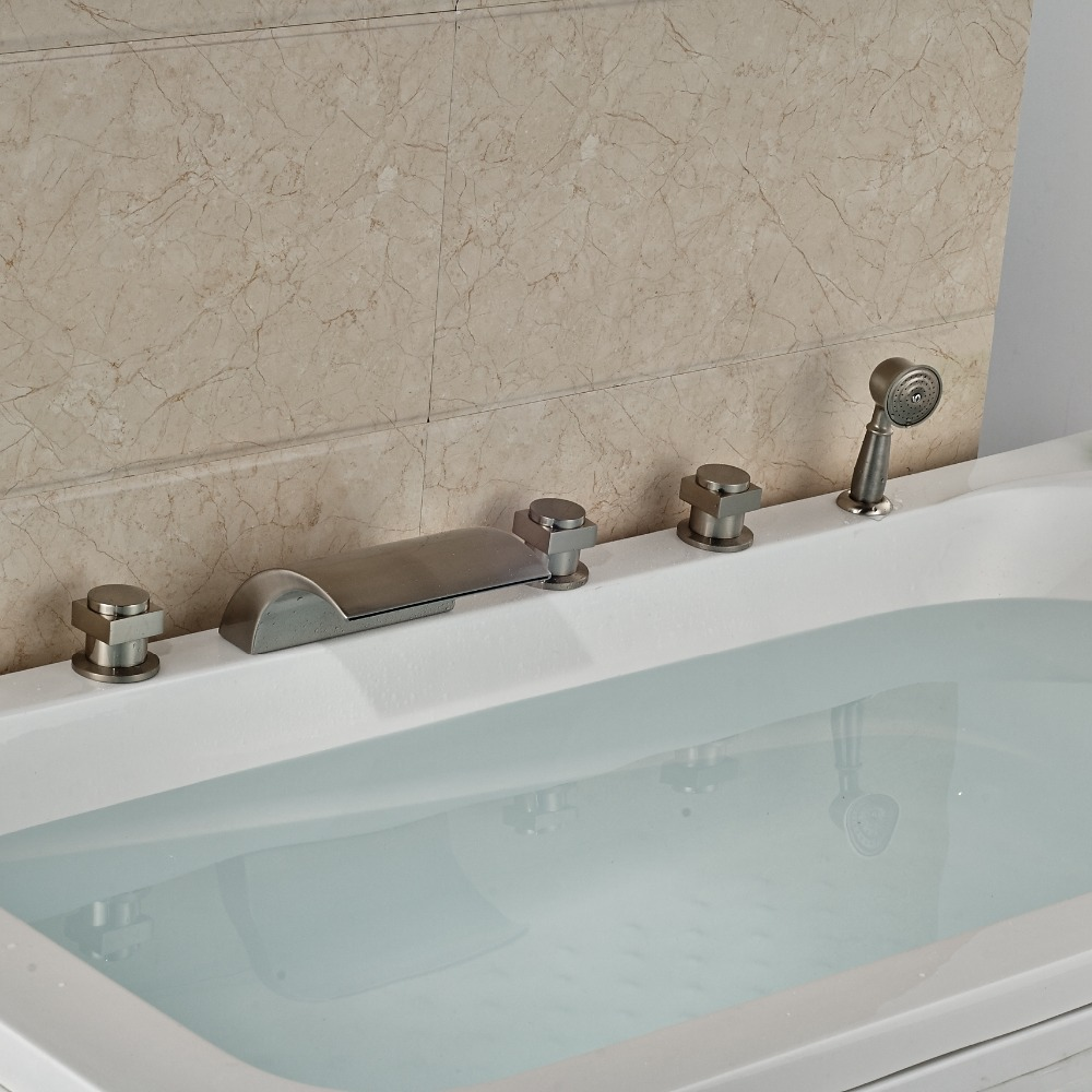 Widespread Brushed Nickel Tub Faucet 5pcs With Three Handles Swivel Spout Deck Mounted