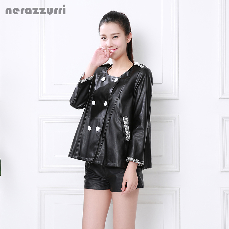 Nerazzurri   leather   jacket women 2019 plus size double breasted O neck color block regular pu coat 4xl 5xl 6xl 7xl Three Quarter