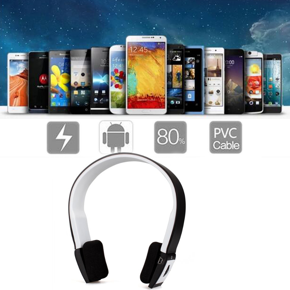 Marsnaska Brand Wireless Bluetooth Sports Stereo Headset Headphone +Mic for iPhone Mobile Phones Notebooks for Samsung Wholesale