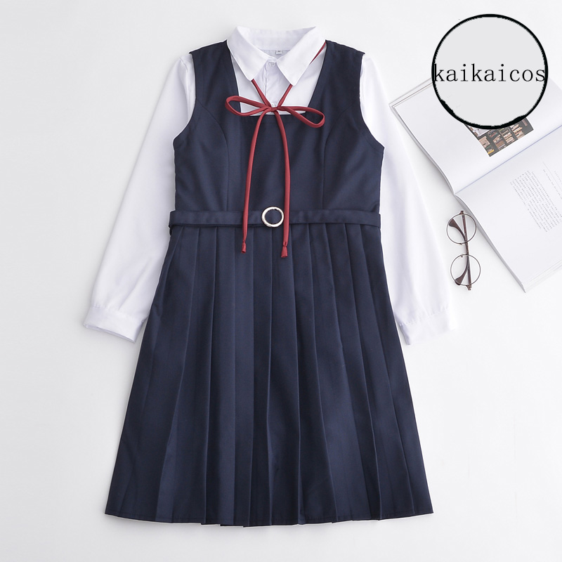 Cute Girls Preppy School Uniform Japanese Lolita Long Sleeve Sailor Collar Shirt+Dress Outfits New Free Shipping S/M/L/XL