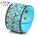 17KM Hot Fashion  Vintage 8 Colors Natural Stone Bracelets for Women Punk Crystal Leather Bohemian Charm Bracelet Gifts