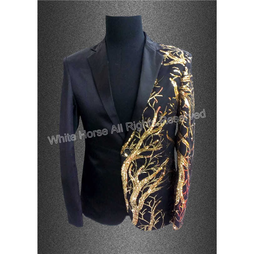 2018 mens blazer sequin jacket blazer men veste costume homme men black gold tuxedo summer. Black Bedroom Furniture Sets. Home Design Ideas