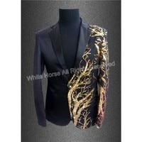 2018 Mens Blazer Sequin Jacket Blazer Men Veste Costume Homme Men Black Gold Tuxedo Summer Deluxe Men's Sequin Jacket