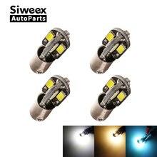 4Pcs H6W BAX9S Led-lampen 8 Smd 5730 Reading Deur Zijmarkeringslichten Kentekenverlichting Voor Auto Warme wit & Wit Dc 12V