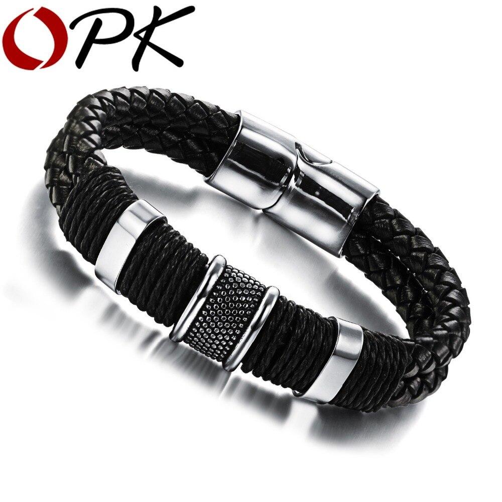 Bracelets homme Double couche tissés en cuir véritable fait main OPK décontracté/sportif vélo moto délicat Cool hommes bijoux, PH891