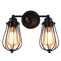 Retro Industrial Edison Simplicity Antique Wall Lamp with Metal Grapefruit shade Black