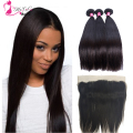 7A Ear To Ear Lace Frontal Closure With Bundles Malaysian Virgin Human Hair Straight Weave 3Pcs With Full Lace Frontal Closure