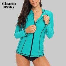 Charmleaks Women Long Sleeve Zipper Rashguard Swimsuit Running Shirt Swimwear Surfing Top Rash Guard UPF50+ Hiking
