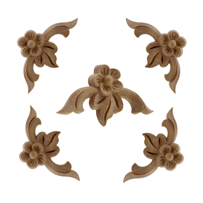 RUNBAZEF Rose Flower Carving Natural Wood Appliques For Furniture Cabinet Unpainted Wooden Mouldings Decal Decorative Figurine