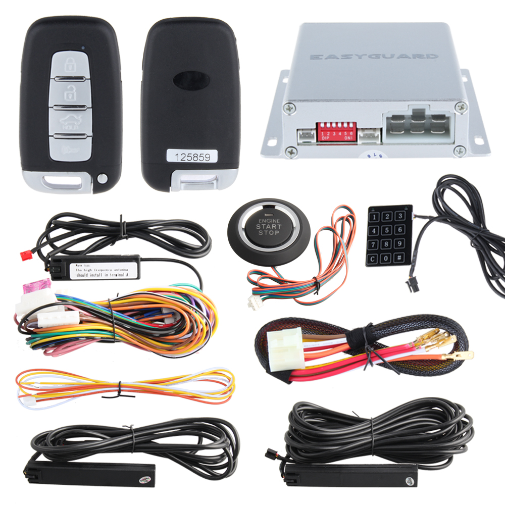 433.92MHZ PKE passive keyless entry car alarm kit with Touch password entry, remote engine start and push button start stop kowell hopping code pke car alarm system w passive keyless entry remote engine start stop push button power ignition switch