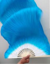 High Quality!New Belly Dance Bamboo Long Silk Fans Veils 7 Colors Hand Made Fan 1.8m left hand