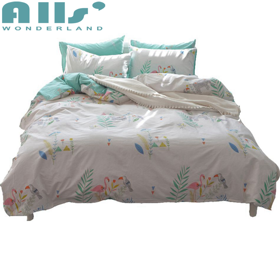Flamingo Bedding Cotton Sheet Sets Decorative Pillowcase Korean Modern White Duvet Cover Girls Twin and Queen Bet Set