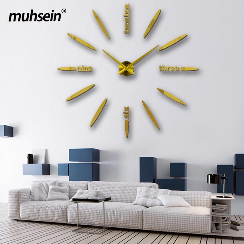 Böyük Divar Saatı 2020 Divar Saatı Akril + EVR + Metal Güzgü - Ev dekoru - Fotoqrafiya 4