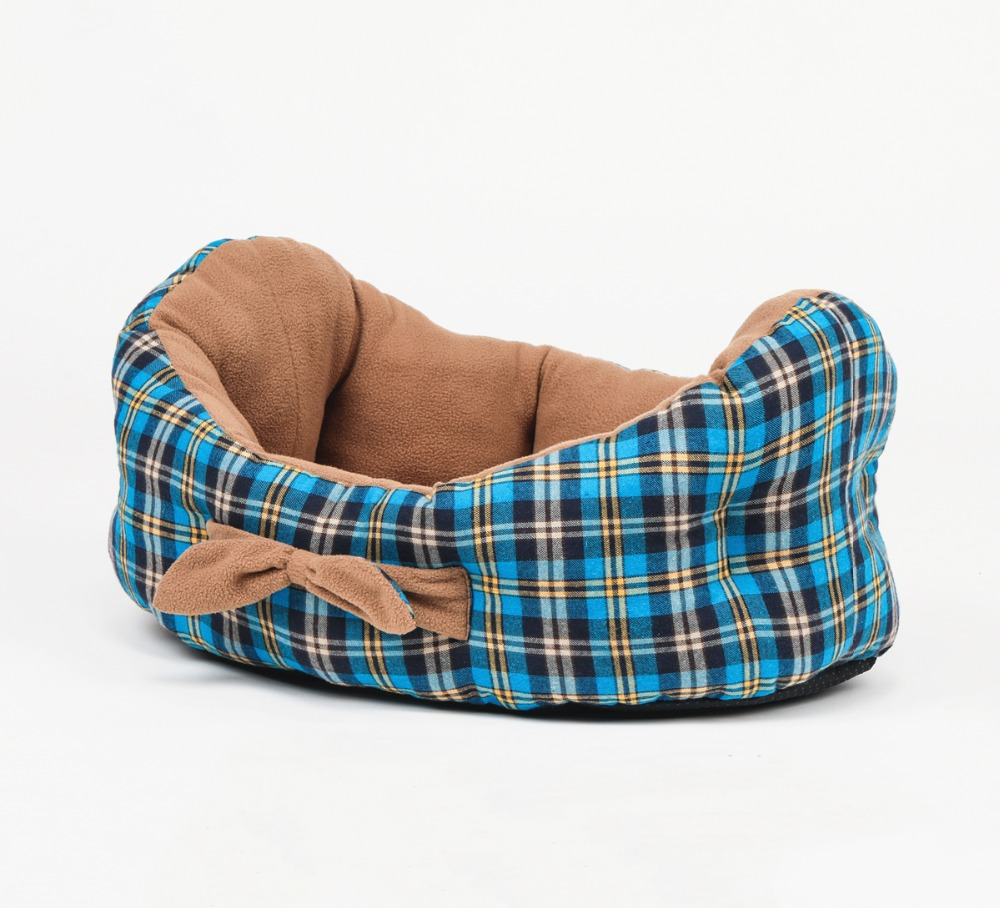 Cradle Shape Dog Beds Pet Beds With Lovely Bowknot Tartan Dog House Dog Cushion for Small and Medium Dogs and Cats image