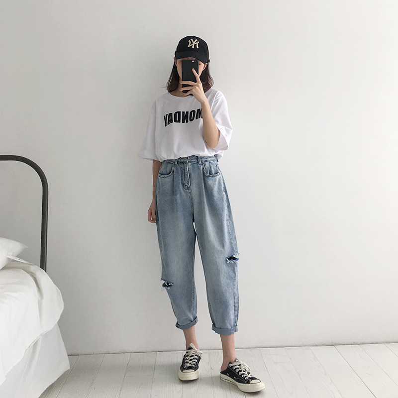 WQJGR 2018 Summer Holes Haren Pants Jeans Woman Easy Long Fund Loose And Comfortable Nine Part Pants 8