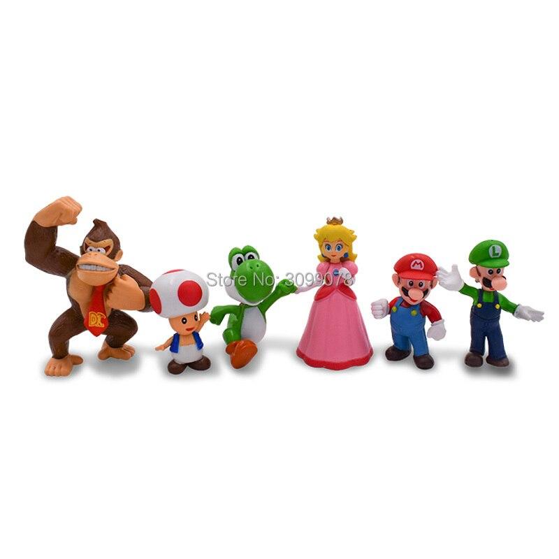 Mini 5pcs Super Mario Supermario Mushroom Bros Action Figure Luigi Toys Gifts