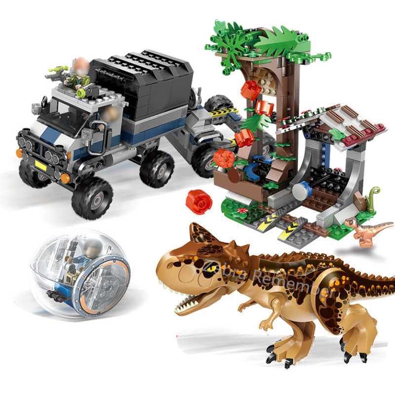 SY1080 Jurassic World Park 2 Carnotaurus Gyrosphere Escape dinosaur Dragon Figures Building Blocks Toys kids Fit 75929