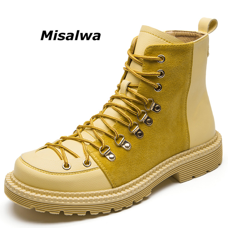 Misalwa Autumn British Man Ankle Boot Round Toe Suede Shoes Flat Booties Lace Up High-Cut Leather Desert Boot Male Retro Sneaker