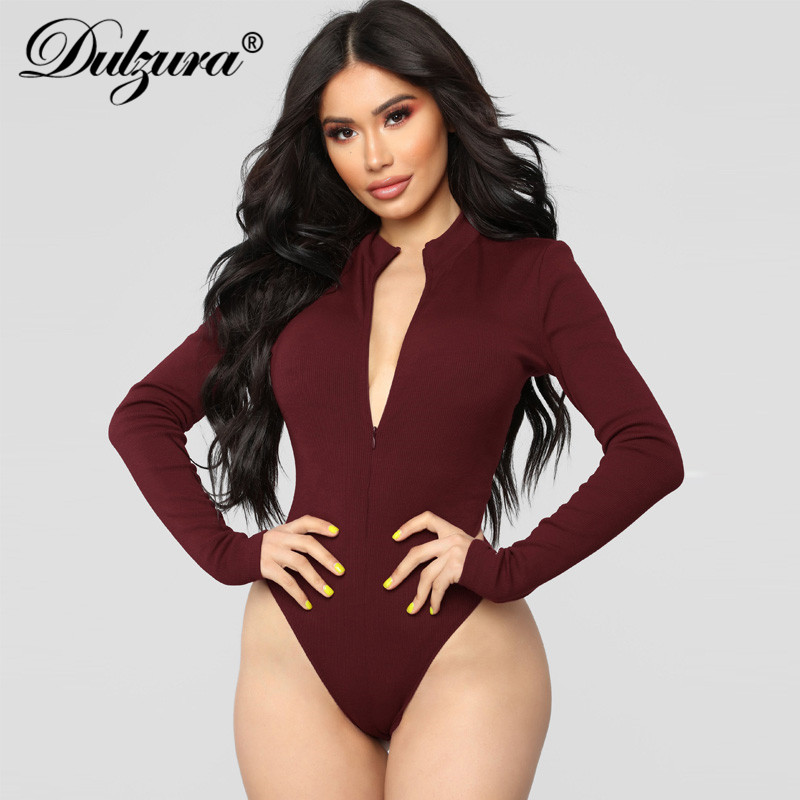 Dulzura front zipper long sleeve women sexy bodysuit 2018 autumn winter black white burgund solid skniny streetwear body v neck