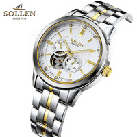 Hot sale SOLLEN Gold mechanical watch Top Brand Luxury Business automatic watches for men multifunction skeleton reloj hombre