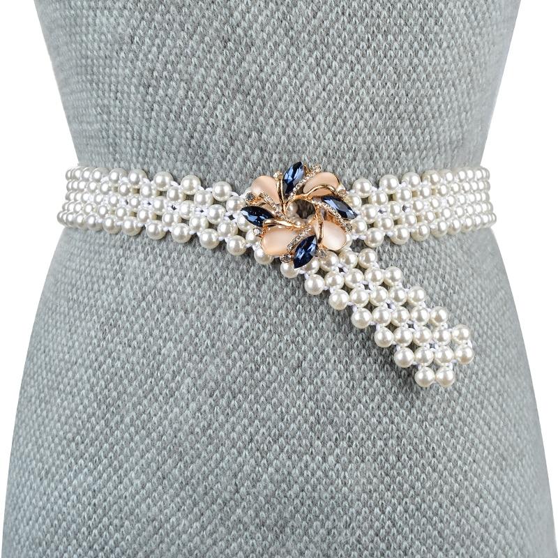 Elegant Women Pearl Crystal Belt Waist Flower Elastic Buckle Chain Cummerbunds Female Girls Dress Strap Waistband Gift