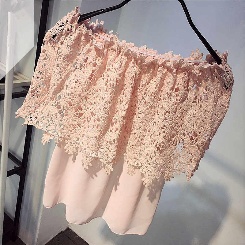 Neploe חדש אופנה תחרה ללא שרוולים מוצק נשים חולצות 2020 קיץ סלאש צוואר חלול החוצה Blusas סקסי מכתף חולצה 64396