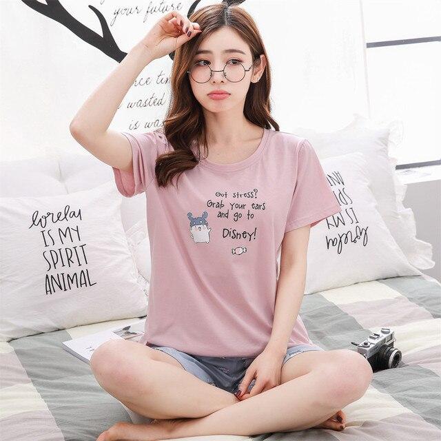 2a8e8371d Pajamas Women Set Long sleeve Night suit Ladies autumn 2018 Korean Plus  size Cotton Pink Home Clothes Winter Nightwear Sleepwear