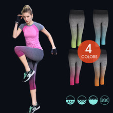 2017 Women Gradient Color Running Tights Yoga Pants Exercise Capri Tights Female  Leggings Workout Trousers Gym Clothes Z029